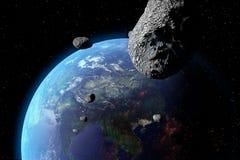Астероид приближает к земле Стоковые Изображения
