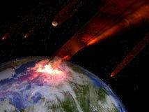 Астероиды поражая землю Стоковые Изображения