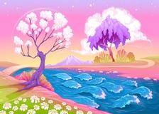 Астральный ландшафт с деревьями и рекой иллюстрация вектора