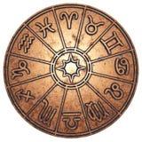 Астрологические знаки зодиака внутрь медного круга гороскопа стоковые фотографии rf