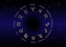 Астрология и гороскоп - знаки золота зодиака над ночой иллюстрация штока