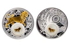Астрология Лео серебряной монеты Беларуси стоковые фотографии rf