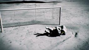 2 астронавта играют футбол на луне Реалистическая кинематографическая анимация предпосылки 3D иллюстрация вектора