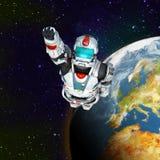 астронавта летания героя планета вне Стоковые Фото