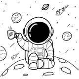 Астронавты кофе вручают нарисованный бесплатная иллюстрация