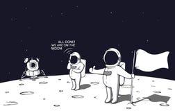 Астронавты приземленные на луну иллюстрация штока
