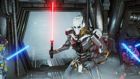 Астронавты со шпагами лазера спрятали в засаде на оккупанте робота чужеземца на его космическом корабле Супер реалистическая конц иллюстрация вектора