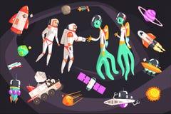 Астронавты тряся руки с внеземными существованиями в космосе окруженном объектами перемещения родственными иллюстрация вектора