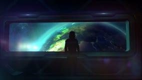 Астронавт возвращает к земле иллюстрация вектора