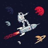 Астронавт в костюме пилота летает стоять на ракете в космосе среди планет и звезд иллюстрация штока