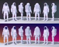Астронавт в различных положениях иллюстрация вектора