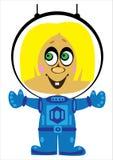 Астронавт девушки шаржа на белизне Стоковые Фото