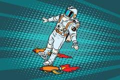 Астронавт летает на скейтборд ракеты космоса бесплатная иллюстрация