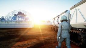Астронавт и вездеход на планете чужеземца Марсианин дальше повреждает Концепция научной фантастики Реалистическая анимация 4K иллюстрация штока