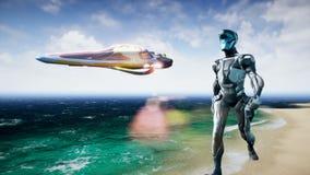 Астронавт и космический корабль на планете чужеземца Реалистическая анимация 4K иллюстрация штока