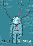 Астронавт космического пространства в линии искусстве влюбленности романтичном Стоковая Фотография