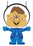 Астронавт мальчика шаржа на белизне Стоковое Фото