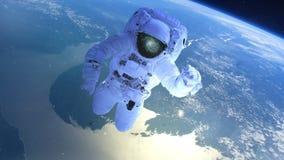 Астронавт над землей в открытом пространстве иллюстрация вектора