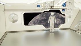 Астронавт на космическом корабле наблюдая ртуть стоковое изображение rf