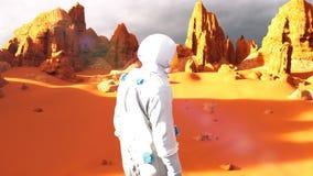 Астронавт на планете Марса Футуристическая концепция колонизации Марса Анимация Loopable бесплатная иллюстрация