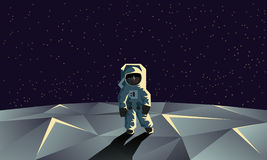 Астронавт на полигональной поверхности луны Плоская геометрическая иллюстрация стоковое фото rf