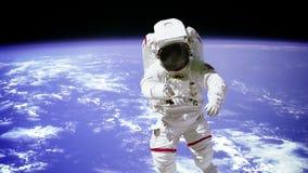 Астронавт на предпосылке планеты иллюстрация вектора