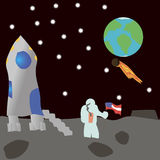 Астронавт на луне стоковое изображение rf