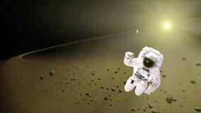 Астронавт плавая в космическое пространство Исследователь космоса Showe метеорита стоковые изображения