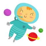 Астронавт ребенк, на белизне Стоковые Изображения RF