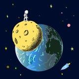 Астронавт стоит на луне и смотрит землю стоковая фотография rf