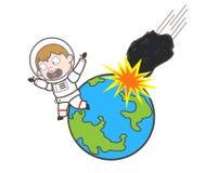 Астронавт шаржа бежать далеко от астероидный падать на иллюстрацию вектора земли иллюстрация вектора