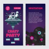 Астронавт dj космоса Приглашение танцев двухстороннее для ночного клуба с показателем винила Фестиваль музыки дома Стоковые Изображения