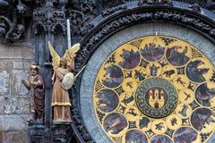 Астрономические часы Праги средневековые Стоковые Изображения RF