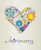 Астрономия в форме сердца иллюстрация штока