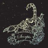 Астрологический эскиз черноты scorpio на предпосылке ночного неба Стоковое Фото