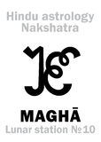 Астрология: Лунное nakshatra станции MAGHA Стоковое фото RF