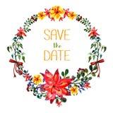 дата сохраняет Рамка вектора акварели Стиль элементов цветка и лист современный Иллюстрация штока