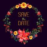 дата сохраняет Рамка вектора акварели Стиль элементов цветка и лист современный Бесплатная Иллюстрация