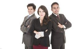 2 латинских бизнесмена и коммерсантка в костюмах Стоковые Фото