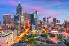 Атланта, Georgia, горизонт США стоковые фотографии rf
