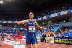 Атлетика - Mihail Dudas; Семиборье человека, 1000m Стоковая Фотография
