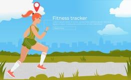 Атлетическая женщина на беге с отслежывателем фитнеса Cardio тренировки Разминка на outdoors в парке concept healthy lifestyle иллюстрация вектора