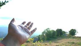 Атмосфера любов и невесомости Женская рука касаясь небу с лучами солнечного света Inprirational творческих способностей свободы видеоматериал