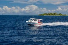 Атолл Ari, Мальдивы - 17-ое декабря 2015: Курсировать туристского быстроходного катера быстрый в море на Мальдивах, Индийском оке стоковые изображения rf