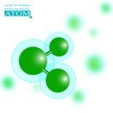 Атом зеленого цвета молекулярной физики Стоковое Изображение