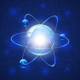 Атом на голубой предпосылке Стоковое Изображение