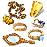 Атрибуты золота богатого человека Цепь золота с значком VIP, зубом, кольцом, серьгой, изолированным зеркалом Вектор в стиле шаржа иллюстрация вектора