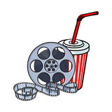 Атрибуты кино, вьюрок фильма и вода соды в бумажном стаканчике иллюстрация вектора