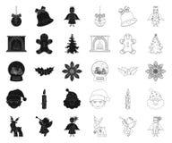 Атрибуты рождества и аксессуары черные, значки плана в установленном собрании для дизайна Символ вектора веселого рождества бесплатная иллюстрация