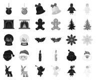 Атрибуты рождества и аксессуары черные, monochrome значки в установленном собрании для дизайна Символ вектора веселого рождества иллюстрация вектора
